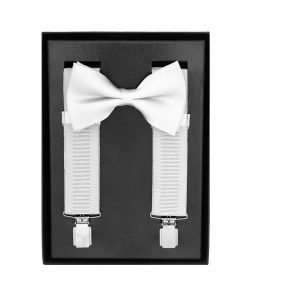 Traditional Bow Tie Braces, 2 Piece Gift Set in White