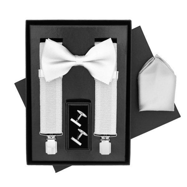 Traditional Bow Tie, Braces, Handkerchief and Cufflinks 4 Piece Gift Set in White