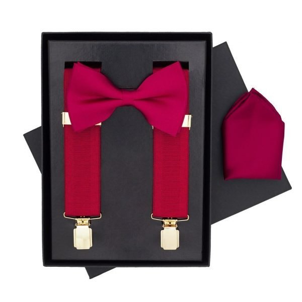 Traditional Bow Tie, Braces and Handkerchief 3 Piece Gift Set in Wine