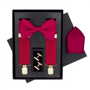 Traditional Bow Tie, Braces, Handkerchief and Cufflinks 4 Piece Gift Set in Wine