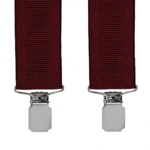 Plain Ribbed Trouser Braces with Silver Clips