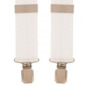 Plain white Ribbed Trouser Braces with Silver Clips