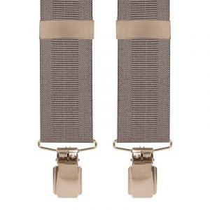Plain Ribbed Trouser Braces in Grey with Silver Clips