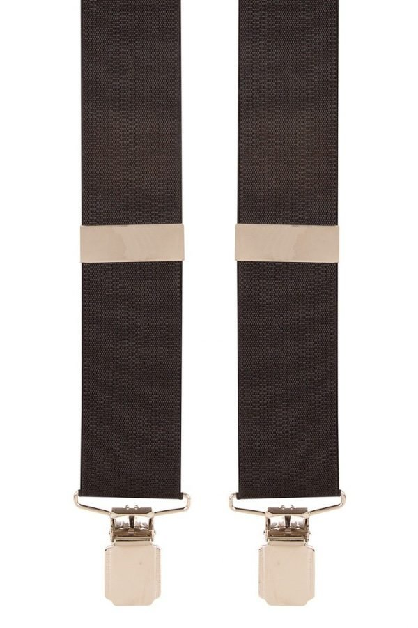 Plain Black Trouser Braces in Black with Metal Clips