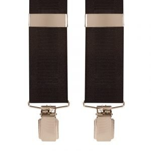 Plain Ribbed Black Trouser Braces with silver clips