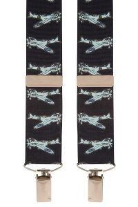 Blue Spitfire Airplane Trouser Braces in Navy Blue with Silver Clips