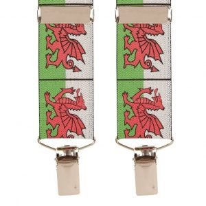 Wales National Flag Trouser Braces | Welsh Dragon with Silver Clips