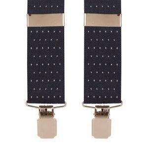 Polka Dot Trouser Braces | Navy & White Dot with Silver Clips