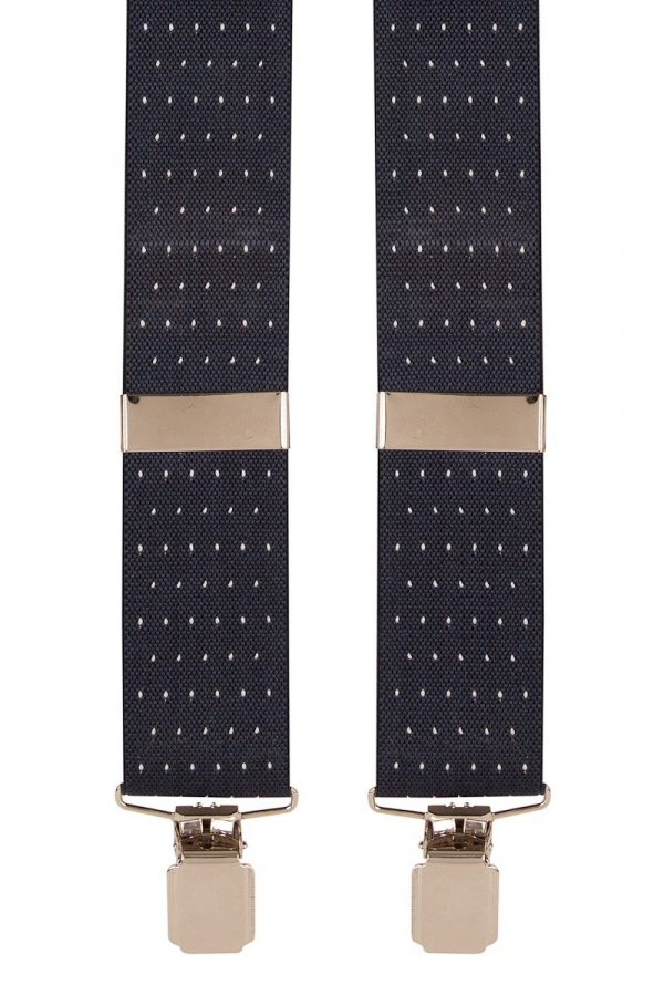 Polka Dot Trouser Braces   Navy & White Dot with Silver Clips