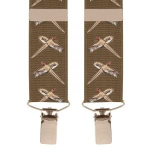 Trouser Braces with Pheasant Design in Olive Green