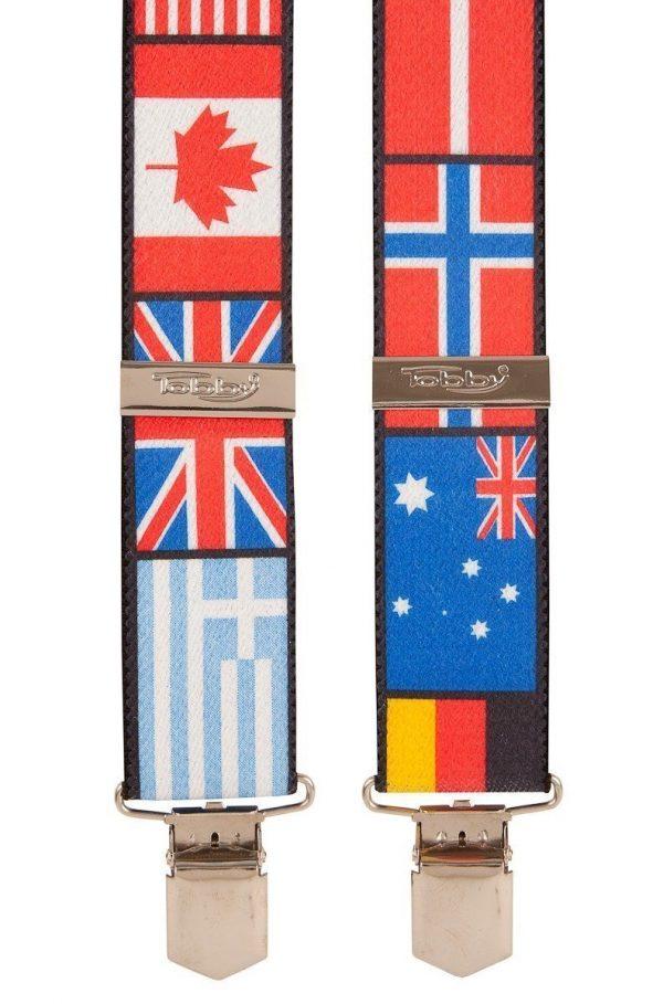 World Flags Themed Trouser Braces, Multi-coloured