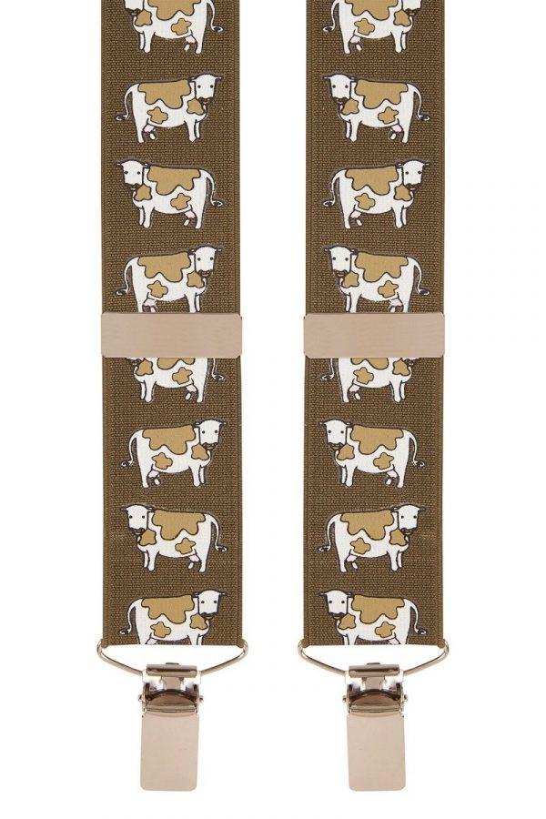 Green Cow Trouser Braces 35mm X Style Back Cow Design Trouser Braces