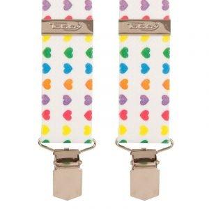 Multi Coloured Love Hearts Trouser Braces Tobby 35mm X Style Back Coloured Hearts Trouser Braces