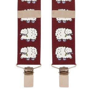 Novelty Sheep Trouser Braces in Wine 35mm Sheep Design Trouser Braces