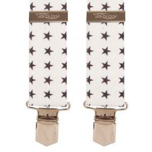Black Stars on White Trouser Braces Suspenders Black Stars Trouser braces