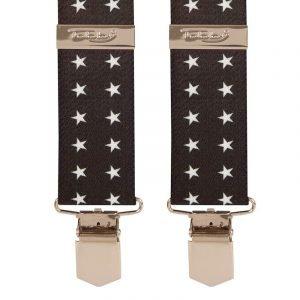 White Stars on Black Trouser Braces Tobby 35mm Braces White Stars