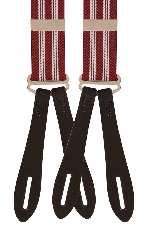 Wine with White Stripes Leather End Button Trouser Braces X-Style