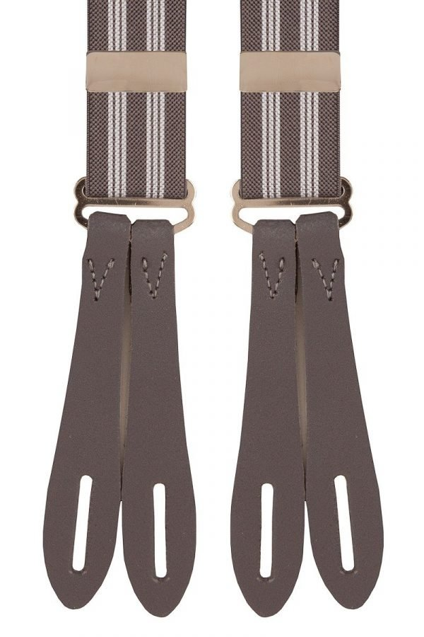 Grey with White Stripes Leather End Button Trouser Braces -X-Style 25mm Grey & White Striped Leather End Braces Top quality classic X-Style Men's braces in a pleasant Striped Grey design with leather runner ends