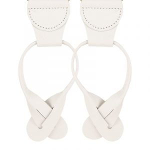 Plain White Leather / Button End Trouser Braces