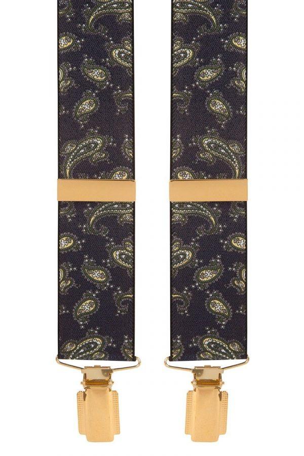 Navy Paisley Trouser Braces Fancy Paisley Navy Clip on Trouser Braces 35mm