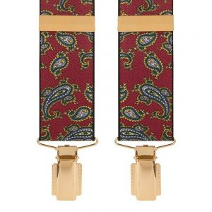 Red Traditional Paisley Trouser Braces