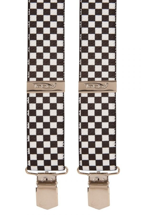 Black & White Chequered Trouser Braces
