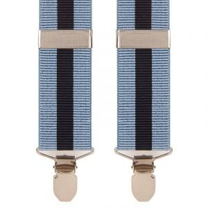 Blue & Navy Striped Trouser Braces 35mm Wide Straps With X Style Design