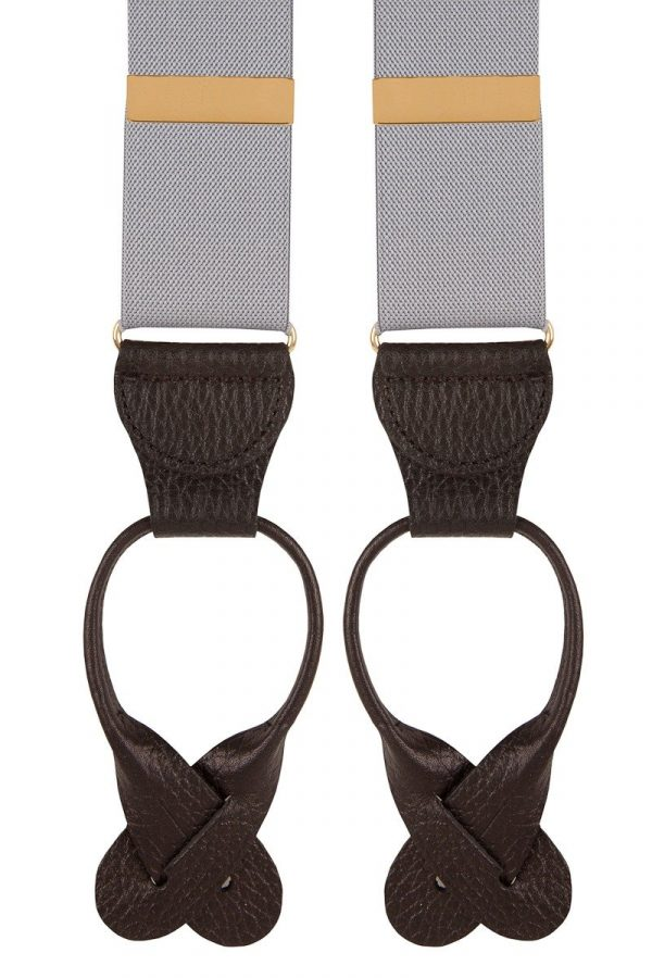 Extra Long Leather end Trouser Braces 35mm Grey Top quality classic Y-Style braces in a pleasant Grey design with leather runner ends.