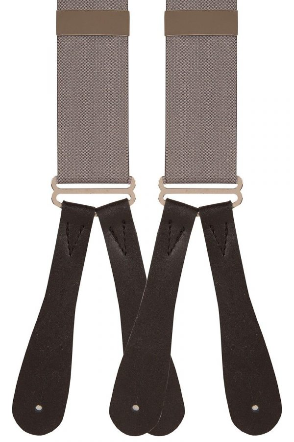 Leather Runner End Trouser Braces in Slate Grey 35mm Y-Style