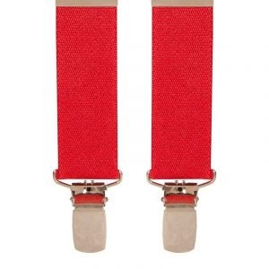 Children's Trouser Braces 1-2 Yrs 25mm Red Top quality classic X-Style Children's braces in a Red design, with strong metal clips.