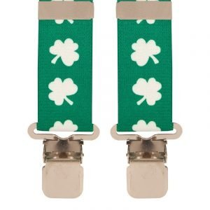 Novelty 50mm Shamrock Trouser Braces Top quality classic X-Style ladies or men's braces in a pleasant Shamrock design, with strong metal clips.