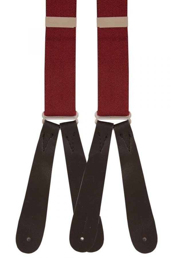 Wine colour traditional buttoned type men's runner braces in a comfortable 25mm width.