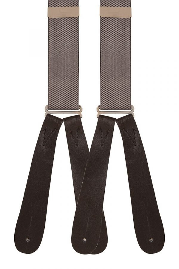 Grey colour traditional buttoned type men's runner braces in a comfortable 25mm width.