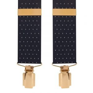 Polka Dot Extra Long Trouser Braces Navy/White Dot 35mm Top quality classic X-Style braces in a pleasant Navy/White Dot design with clip ends.
