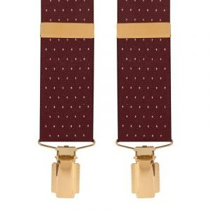 Polka Dot Extra Long Trouser Braces Wine/White Dot 35mm Top quality classic X-Style braces in a pleasant Wine/White Dot design with clip ends.