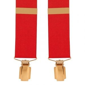 Top quality classic X-Style braces design with clip ends. Extra Long Trouser Braces (Red) 35mm