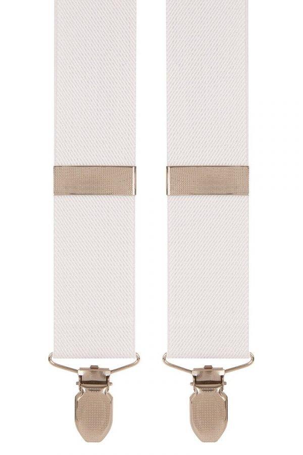 Plain White Trouser Braces in White