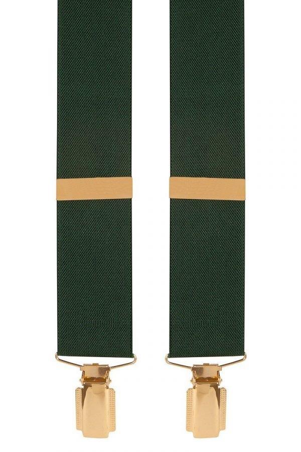 Traditional Plain Trouser Braces in Green
