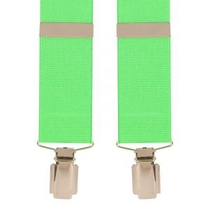 Traditional Plain Extra Long Trouser Braces in Bright Lime Green
