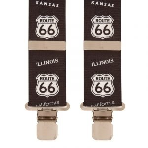 Route 66 USA Novelty Trouser Braces in Black/White