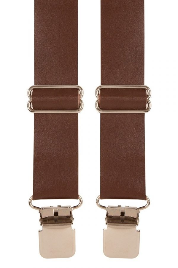 BriMarc Brown Leather Braces 35mm X-Style