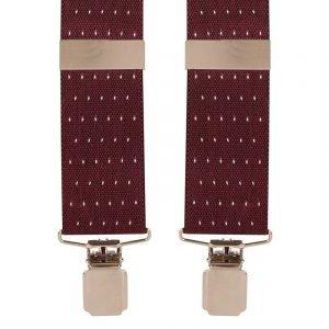 Polka Dot Trouser Braces in Wine and White dot