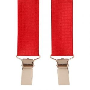 Narrow Skinny Trouser Braces in Red 25mm Straps
