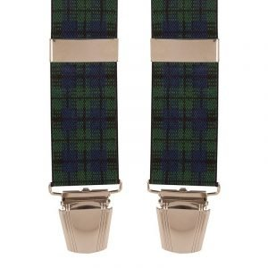 Tartan Plaid Trouser Braces in Green and Navy
