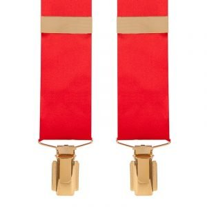 Silk Satin Classic Wedding Trouser Braces in Scarlet Red 35mm Y-Style