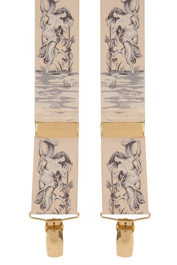 Albert Thurston Themed Trouser Braces Naked Lady natural beige pink gold clips
