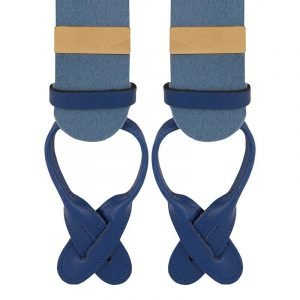 Albert Thurston Boxcloth Braces in Saxe Blue 35mm X-Style
