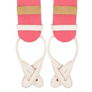 Albert Thurston Boxcloth Braces in Pink 35mm X-Style Albert Thurston 35mm pure wool Pink boxcloth braces with solid brass fittings and white leather runner ends