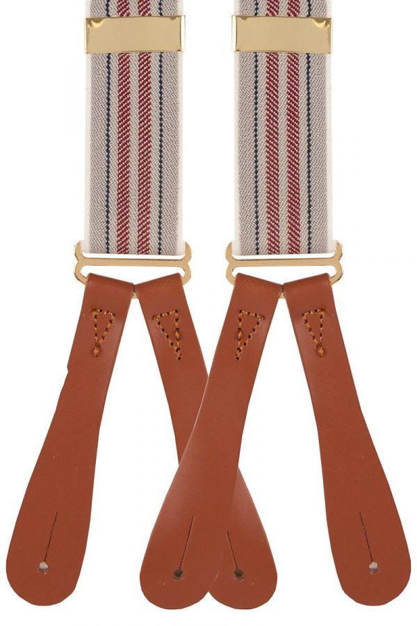 Natural Stripe Trouser Braces in Wine/Navy