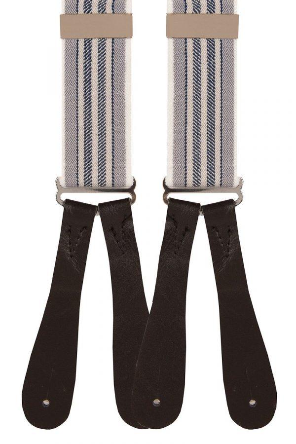 Natural Stripe Trouser Braces in Grey/Beige/Navy 35mm Y-Style
